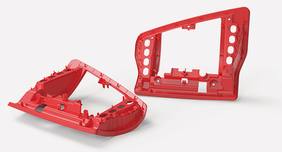red thermoplastic automotive parts manufactured by protolabs