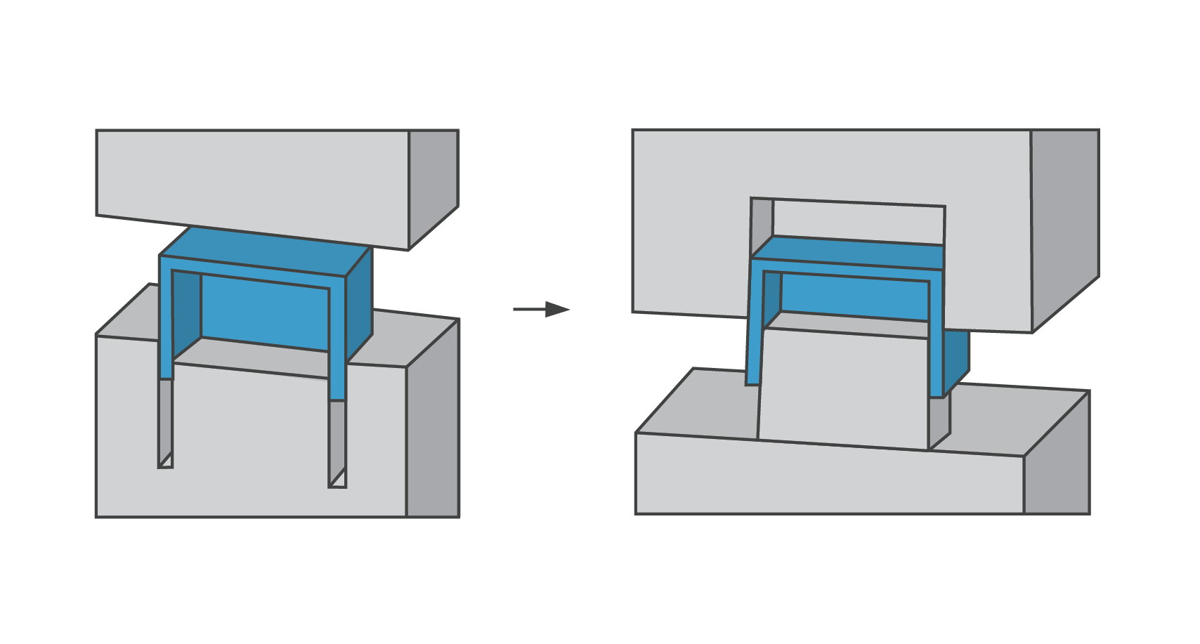 The deep-rib approach (left) shows a box designed with walls as ribs, resulting in higher a cost to machine and polish the mold cavity. With the core-cavity approach (right), the box allows features to be milled with a faster cutter, and is easier to polish. This saves you time and money.
